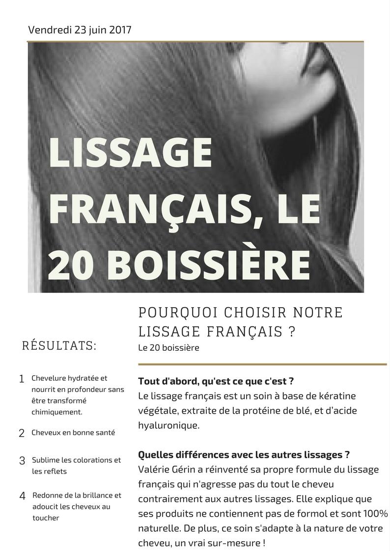 Lissage français, le 20 boissière